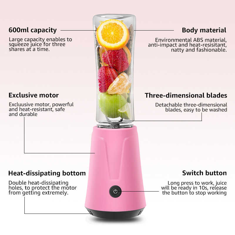 ANIMORE Portátil Elétrica Juicer Blender Milkshake de Comida para Bebé Moedor de Carne Misturador Multifuncional Suco de Fruta Máquina do Fabricante JU-02C