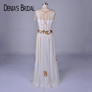 Image 2 - 2018 Luxury Beaded Evening Dresses Real Image V Neck Sheath Floor Length Gowns