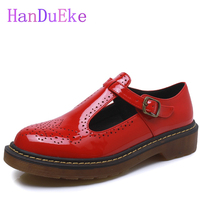 HanDuEKe High Quality Women Oxfords Flats Platform Shoes Patent Leather Tassel Pointed Creeper Black Brogue Loafers