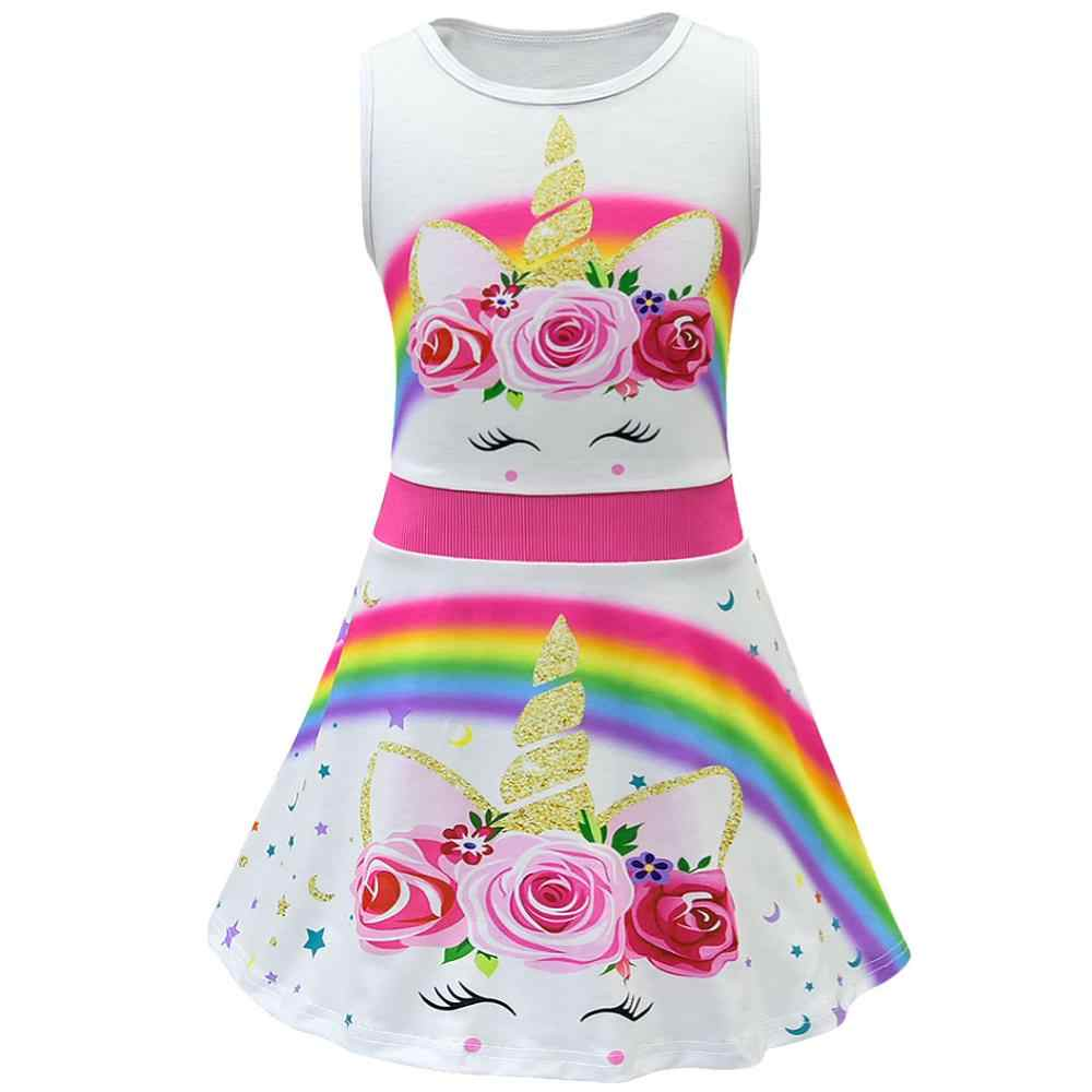 ガールズサマードレスユニコーン王女女の赤ちゃん漫画の服はほとんど子供レインボーオフショルダーの frocks 幼児ティーンエイジャー衣装