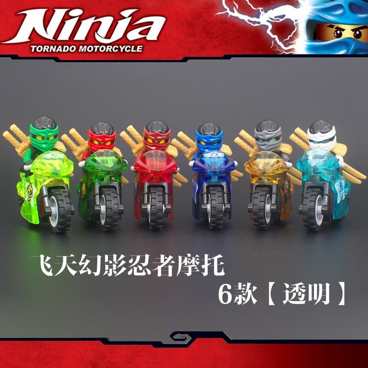 6PCS Ninjago Motorcycle Set Ninja Mini Figures Building Blocks Toys