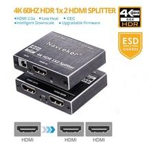 Новый 4 К 60 Гц HDR HDMI 2,0 Splitter 1×2 HDMI 2,0 4 К Поддержка HDCP 2,2 UHD HDMI Splitter 2,0 распределительная коробка для PS4 проектор