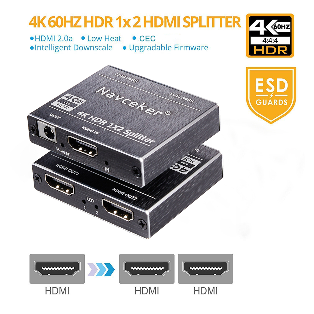 Nouveau 4 k 60 hz HDR HDMI 2.0 Splitter 1x2 Splitter HDMI 2.0 4 k Support HDCP 2.2 UHD HDMI Splitter 2.0 Switch Box Pour PS4 Projecteur