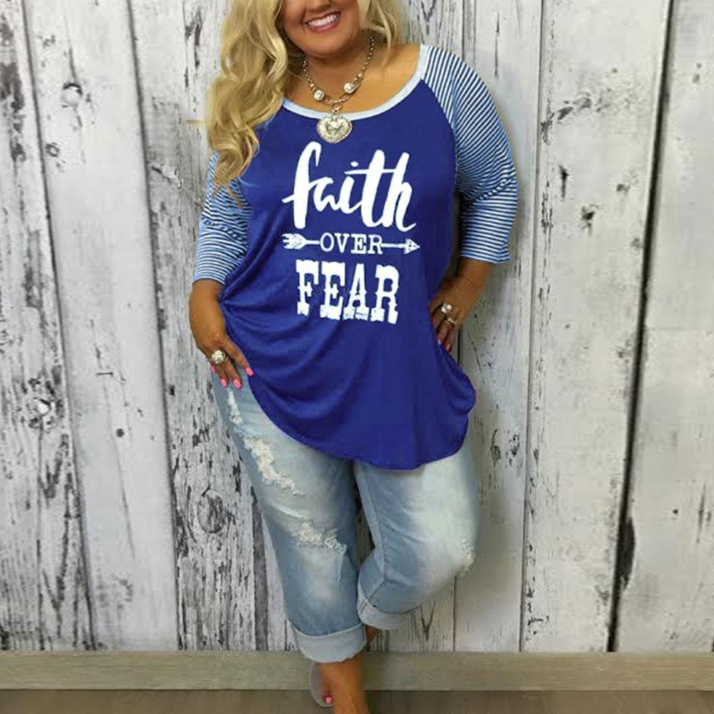 Plus Size Top Sale Baseball Women T Shirt Letter Printed Splicing Stripe Tops Female O Neck