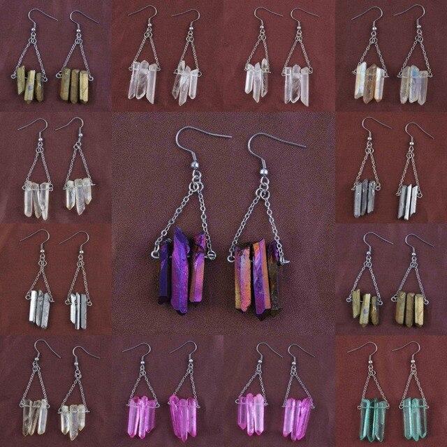 Модные посеребренные серьги подвески разных цветов с бусинами
