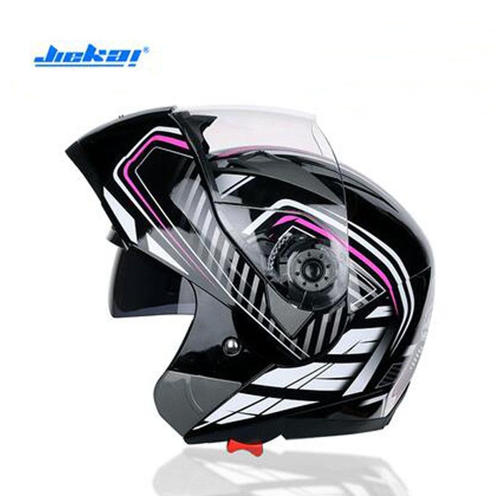 2018 Autumn Winter New JIEKAI Double Lens Full Cover Open Face Motorcycle Helmet Flip Up Motorbike Helmets for Men and Women