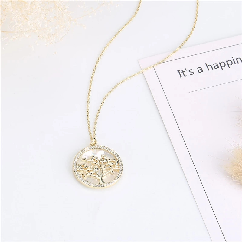 Popular Jewelry Gold Plated Brass CZ Pearl Shell Pendant Necklace Women (9)