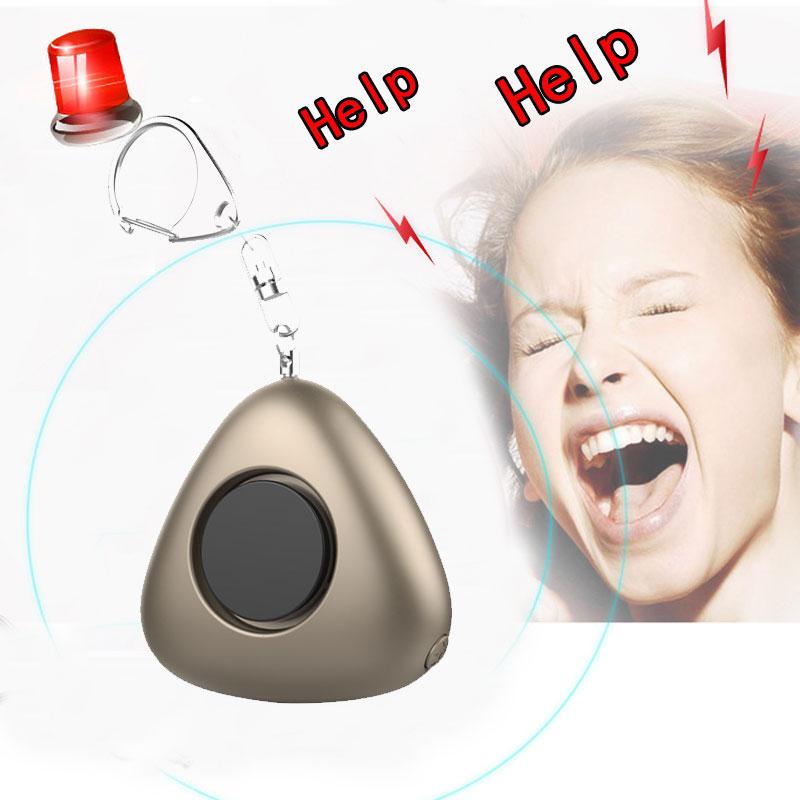 Mini Triangle Shape SOS Self Defense Personal Security Emergency Alarm 120DB With Keychain LED Light For Women Elder Children