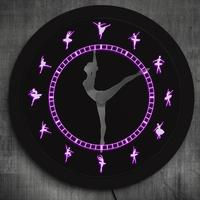 Charming Ballerina Girls Decorative Neon Effect Wall Clock Ballet Time Ballet Dancing Girls Needle Hand Unique Wall Light Clock