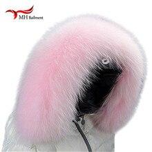 Новая зимняя 100% реального натуральный розовый енота меховой воротник и женские шарфы пальто свитер Шарфы Воротник роскошный мех енота шеи Cap L16