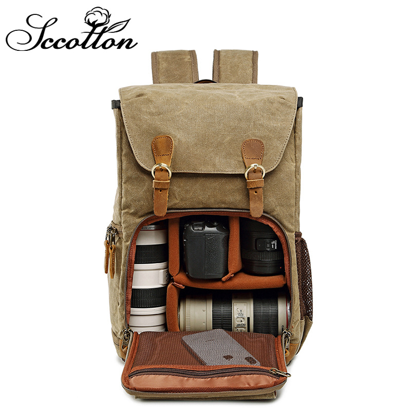 Shoulder Photo Pack Waterproof canvas Male and Female General Safety SLR Digital Camera Package backpacks
