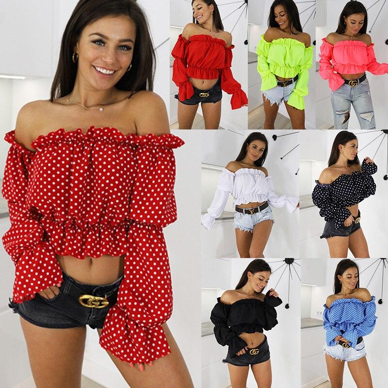 DORVIVON Roupa Feminina Women Clothes 2019 Sexy Off Shoulder Dot Cropped Shirt Lantern Sleeve Chiffon Blouses Tops Chemise Femme