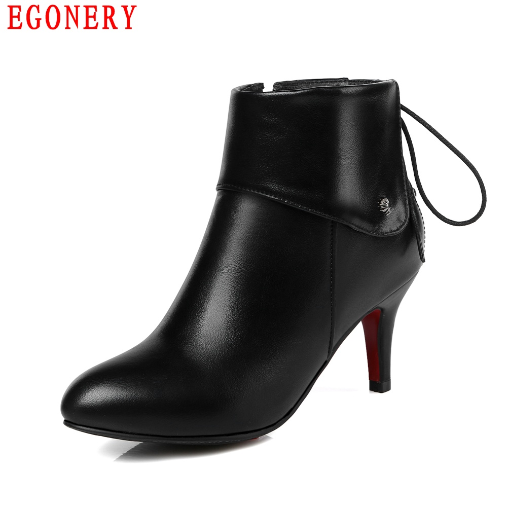 Fashion Style Back Lace Up Zipper Fold Soft PU Leather Ankle Ladies Boots Thin High Heels