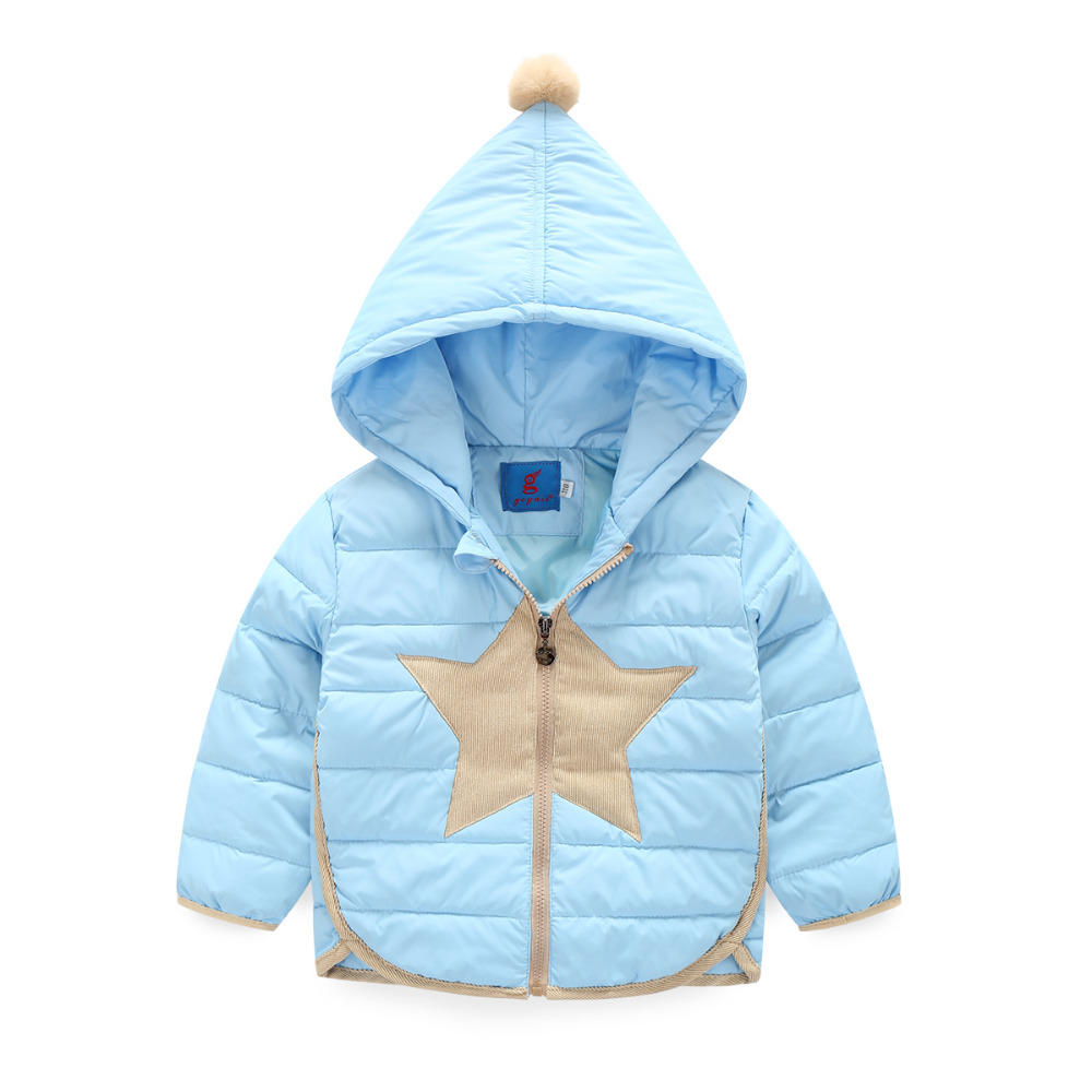 Winter Jacket Girls Child boys Down Coat Five pointed star pattern Printed Hooded Kids Down Jackets