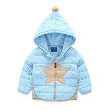 Зимняя куртка девушки по уходу за детьми мальчики вниз пальто пятиконечная star с печатным рисунком с капюшоном дети вниз куртки девушки верхняя одежда пальто