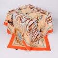 Саржевого Шелковый Шарф 100x100 см Большой Размер Женщин Шелк Полиэстера Квадратные Шарфы