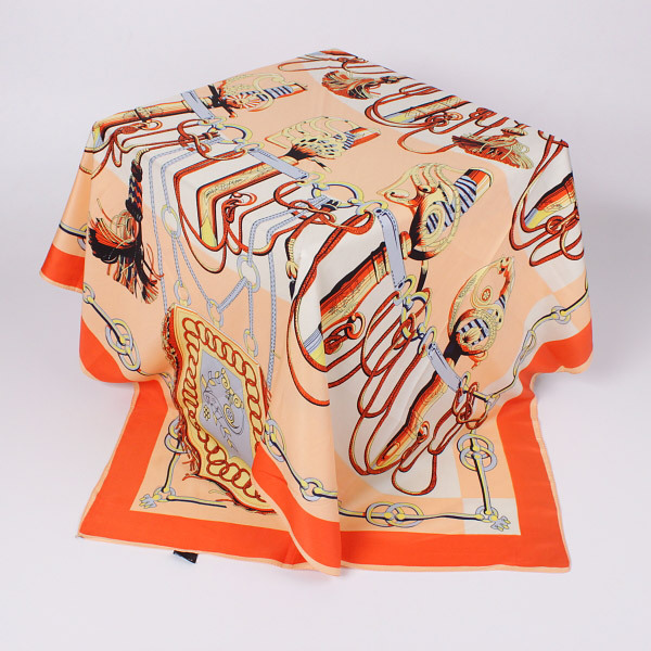 Twill Silk Scarf 100x100cm Big Size Women Silk Polyester Blend Square Scarves