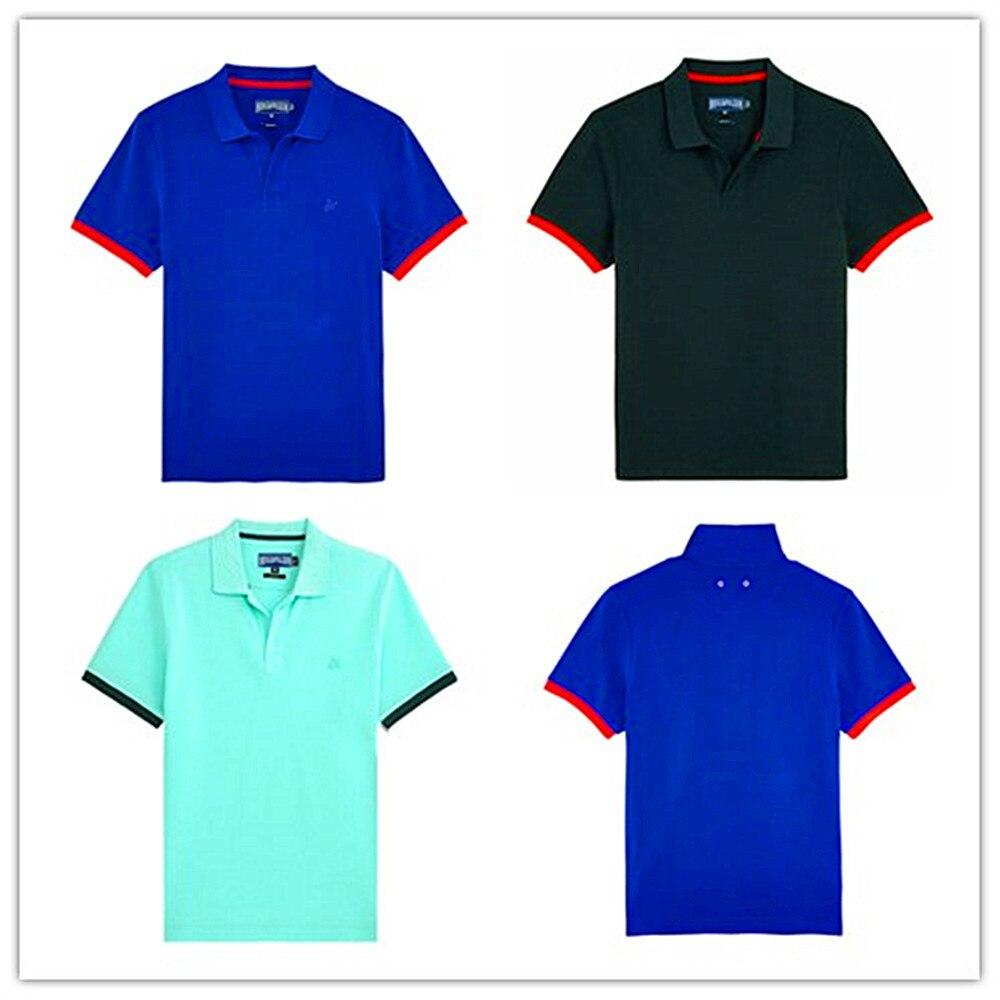 2019 marque Vilebre polos hommes 100% haute qualité couverture en coton t-shirts tortues solide hommes baignade plage vêtements bleu Cyan noir