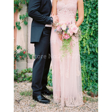 Blush Pink Beach Wedding Dresses Boho Lace Floor Length