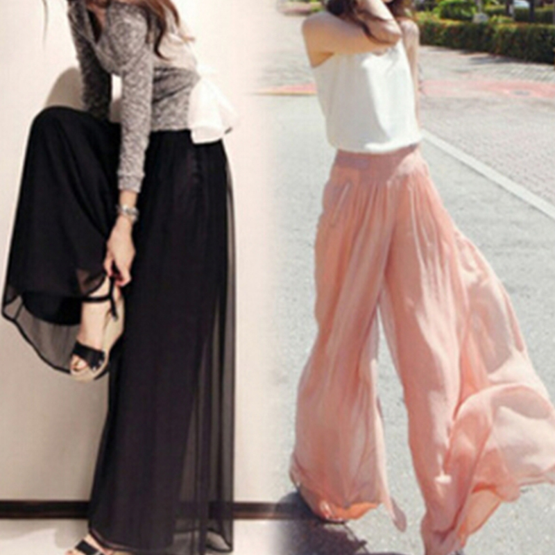 New Fashion Women Chiffon   Pants   Summer   Wide     Leg     Pants   High Waist Long Loose   Pants   Palazzo Culottes Trousers Femme Pantalones