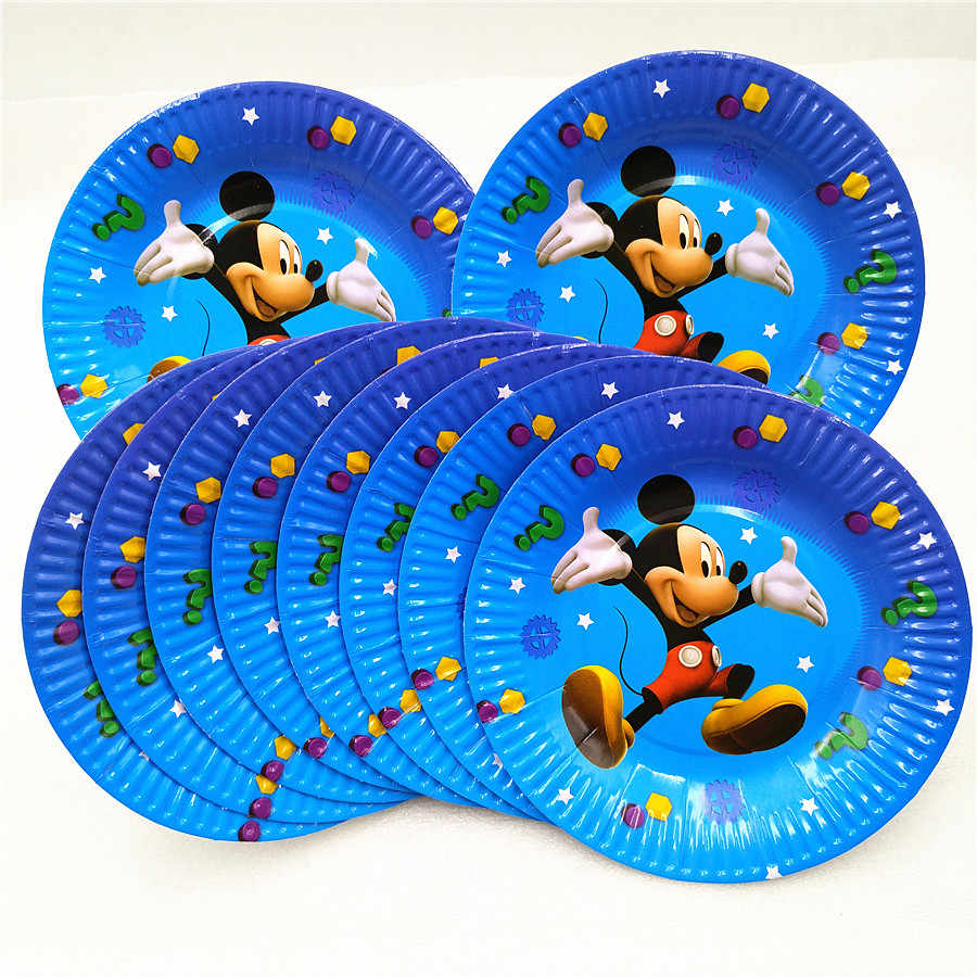 10 Uds Mickey Mouse Party Supplies platos de papel desechables vajilla cumpleaños Partei favores platos desechables vaisse