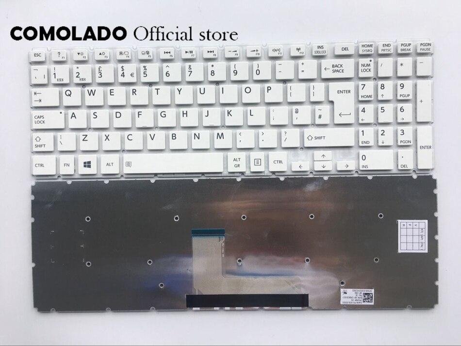 Teclado REINO UNIDO Para Toshiba Satellite L50-B L50D-B L50T-B L50DT-B L50-B-1DZ L50-B-137 Branco sem Quadro teclado REINO UNIDO Layout