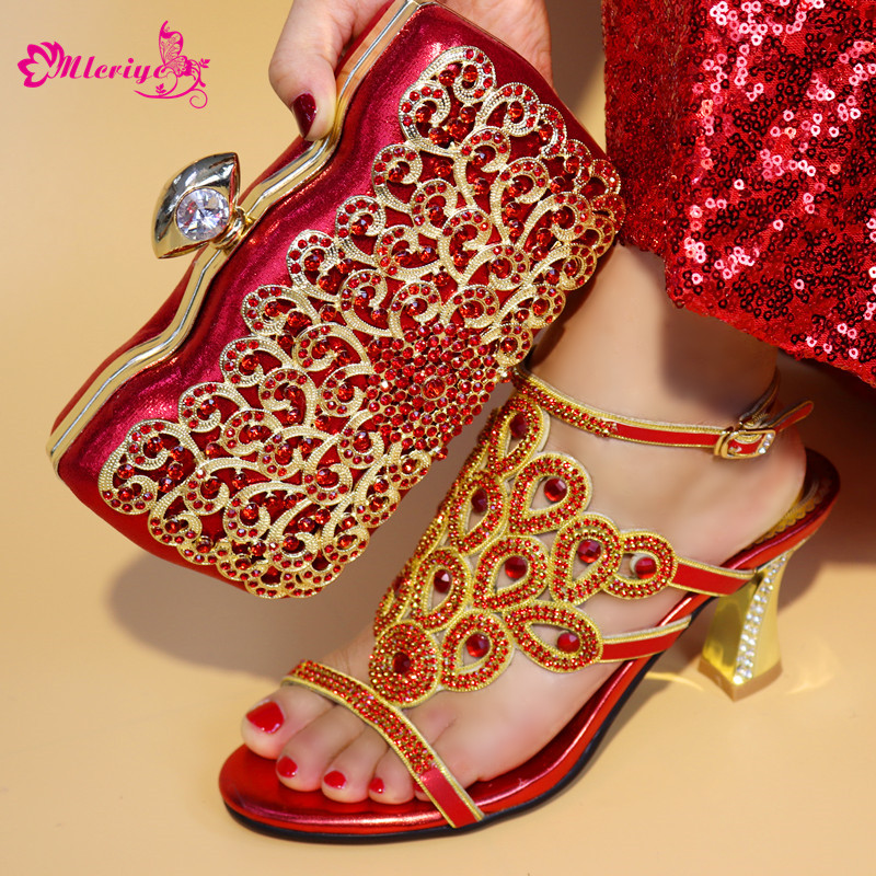 New Designer Shoes Women Luxury 2018 Nigerian Women Wedding Shoes and Bag Set Decorated with Rhinestone Bag and Shoes Set Italy kimberly meter van sex lies and designer shoes