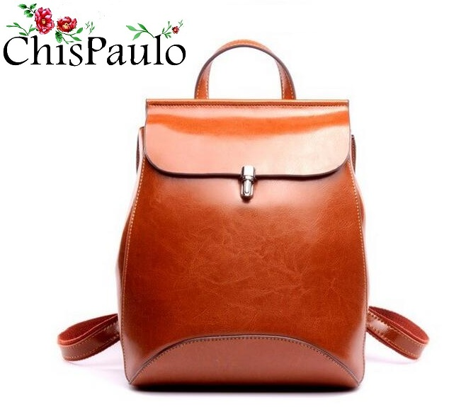 CHISPAULO 2017 Cowhide Genuine Leather backpack women bag oil wax vintage backpacks Female back pack casual shoulder Bags T315 chispaulo brand women handbag high quality oil wax leather ladies shoulder bags vintage female bags