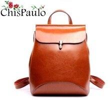 CHISPAULO 2017 натуральной Пояса из натуральной кожи рюкзак женщины сумка масло воск Vintage Рюкзаки Женские Back Pack случайный плечо Сумки T315