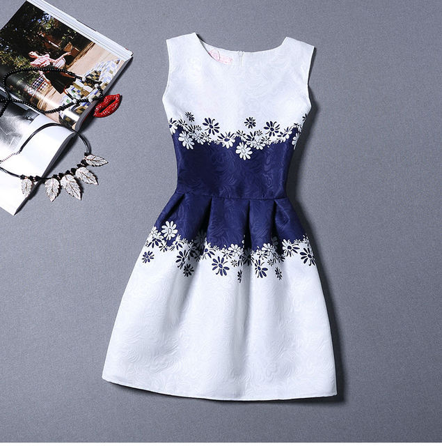 new women printed flower dress sleeveless knee length one piece dress casual sli