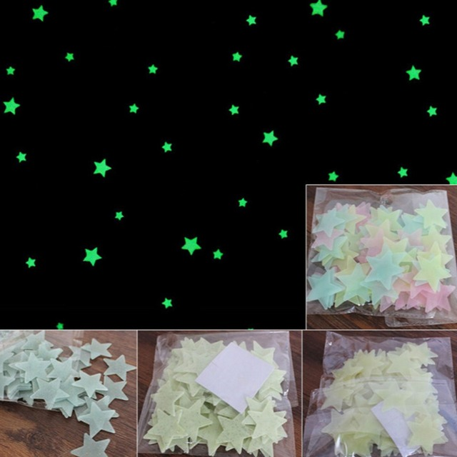12f3404b4491 100Pcs Set Kids Bedroom Beautiful Fluorescent Glow In The Dark Stars Wall  Stickers Baby Rooms Sticker Home Decoration