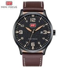 MINI FOCUS Luxury Brand Mens Wristwatch Quartz Wrist Watch Men Waterproof Brown Leather Strap Fashion Watches Relogio Masculino