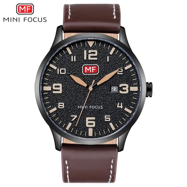 MINI FOCUS Luxury Brand Men's Wristwatch Quartz Wrist Watch Men Waterproof Brown Leather Strap Fashion Watches Relogio Masculino