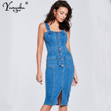 Sexy Blue Black Denim Dress Women summer vintage sleeveless Jeans Dress One piece Cowboy Pocket Button Bodycon dress Vestidos HL цена