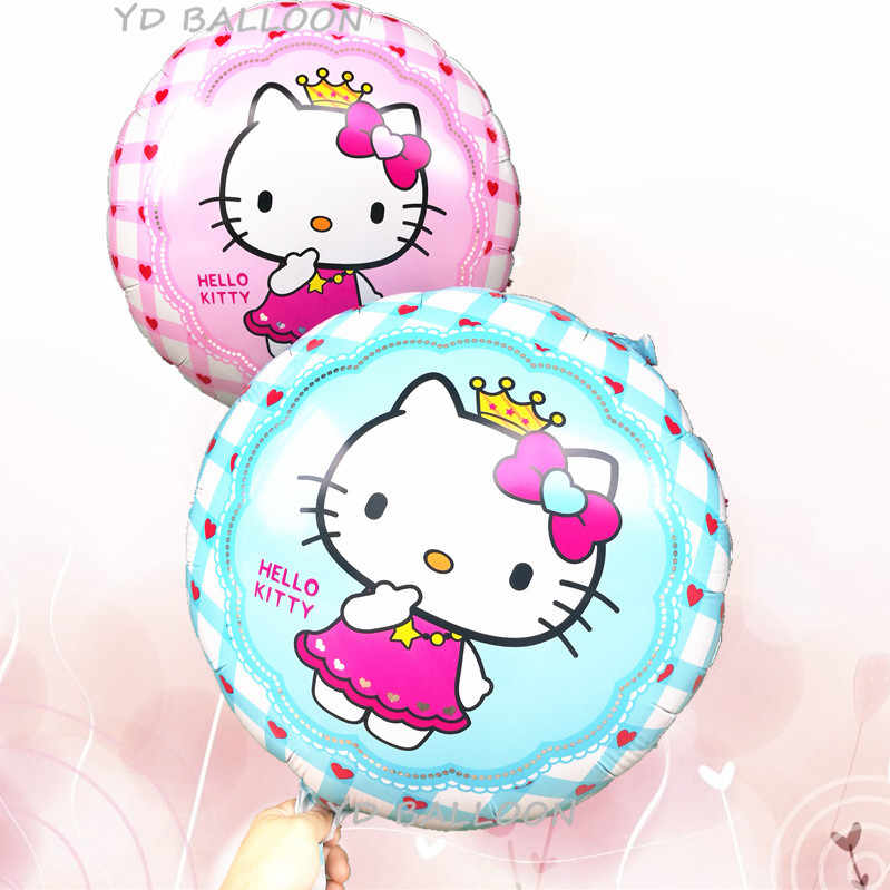 KUWANLE 30pcs/lot 45*45cm Hello Kitty Foil Balloons Baby Inflatable Toys Birthday Party Decoration Cartoon KT Cat Helium Balloon