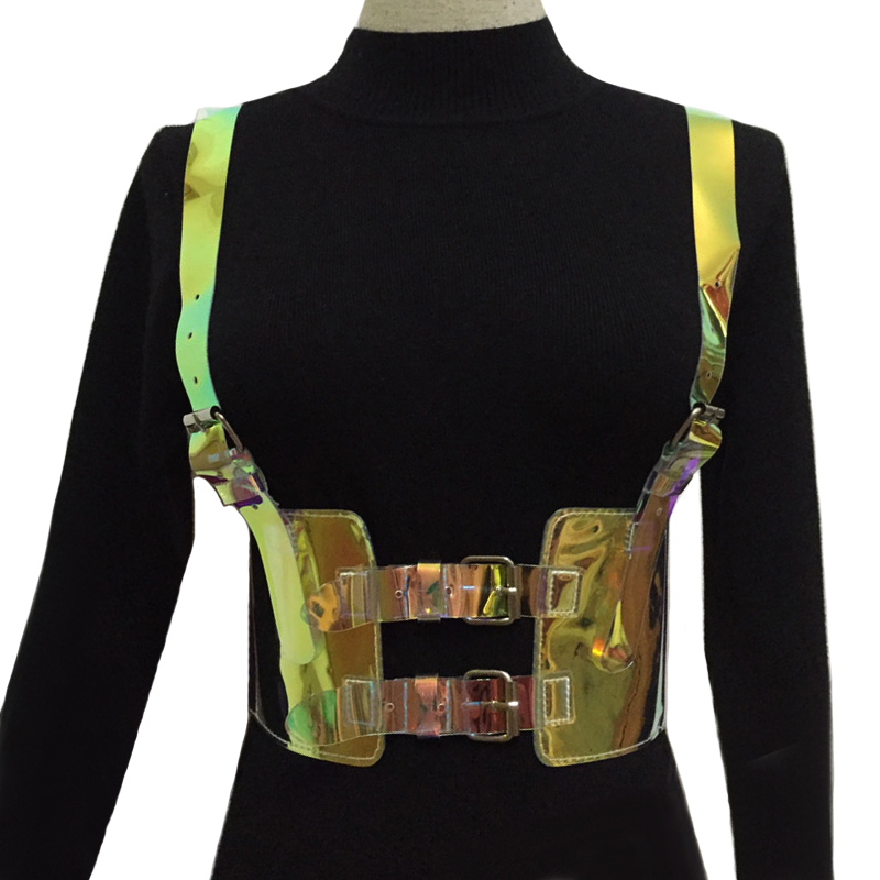 Generous 2019 New Punk Gothic Slimming Holographic Choker Bra Top Harness Straps Hologram Rainbow Pvc Bondage Waist Belt For Women Straps