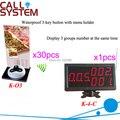 Restaurante Wireless sistema de servicio con 30 botones de llamada y 1 pantalla del receptor 433.92 MHz envío libre de DHL