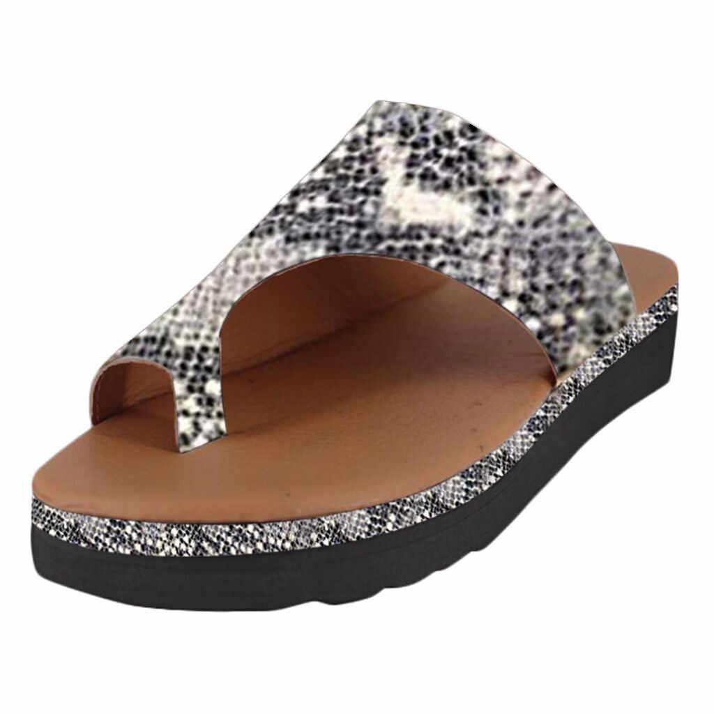 Kadın deri ayakkabı rahat platformu düz taban bayanlar rahat yumuşak büyük Toe ayak düzeltme sandalet ortopedik Bunion düzeltici 6J11