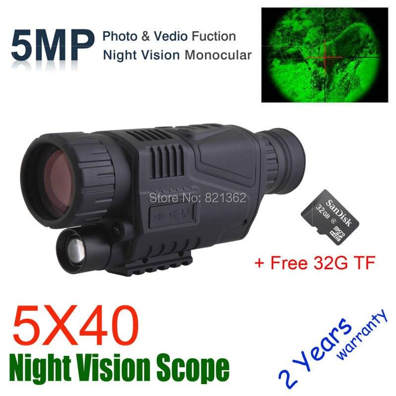 5X40 Digital Night Vision Monocular Night Vision Hunting Scope Night Vision Optics Hunter Scope Free Ship new arrival handheld 4 5x40 monocular night vision for hunting for shooting black