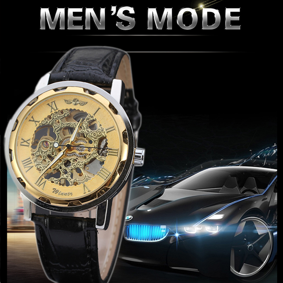 2016 Luxury pu leather Band automatic Mechanical Skeleton Watch For Men Fashion Gear Wrist Watch Reloj Army Hombre Horloge ultra luxury 2 3 5 modes german motor watch winder white color wooden black pu leater inside automatic watch winder
