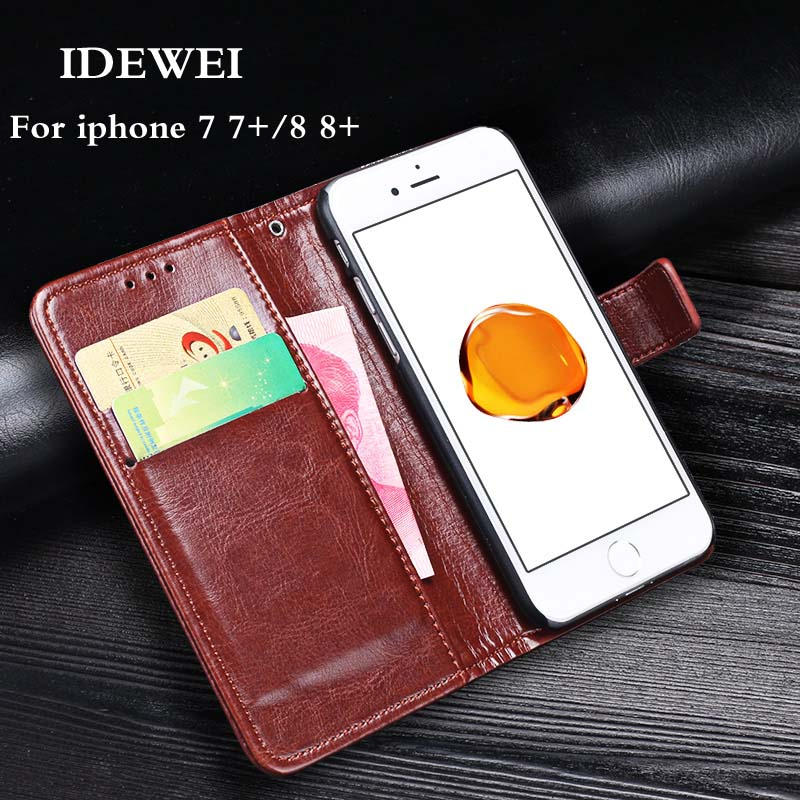 IDEWEI Filp Case For iphone 7 8 Plus Cover Vintage PU leather 360 Full Protection Phone Wallet Case Cover For iphone 7 8 8Plus