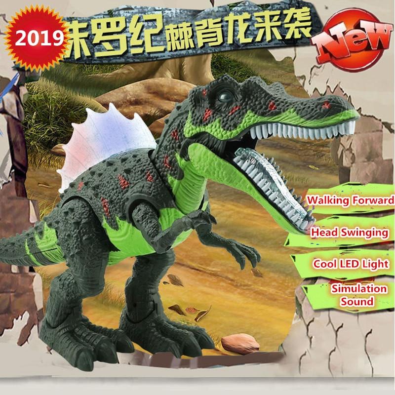 2019 New Jurassic Electric Walking Dinosaurs 52CM Big Luminous Sound Simulation Model Interactive Dinosaur Boy Gift Kids Toys
