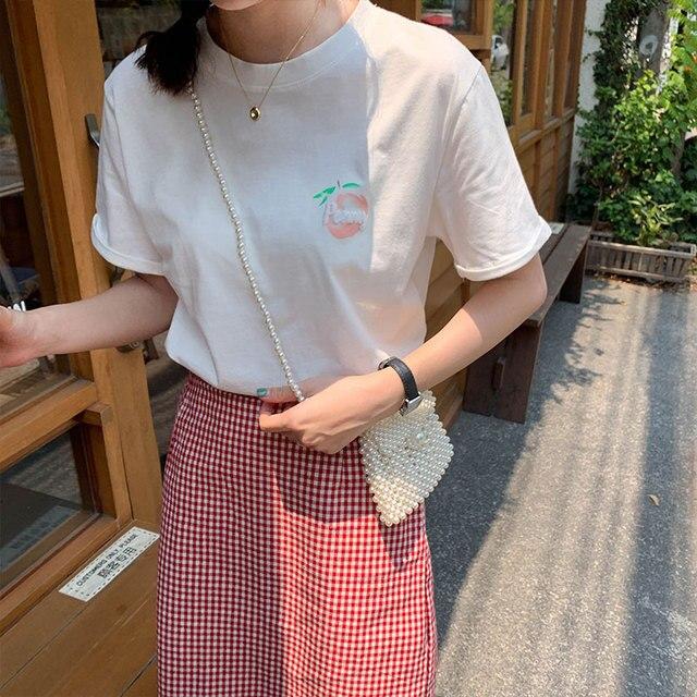 Ulzzang kawaii tops 2019 verão estilo coreano mulheres camiseta moda doce impressão de frutas pêssego amigos carta harajuku shirt women