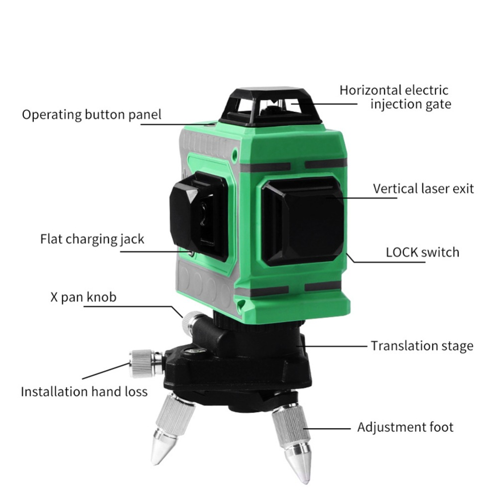 Laser Level 12 Lines 3D Level Self Leveling 360 Horizontal And Vertical Cross Super Powerful Green