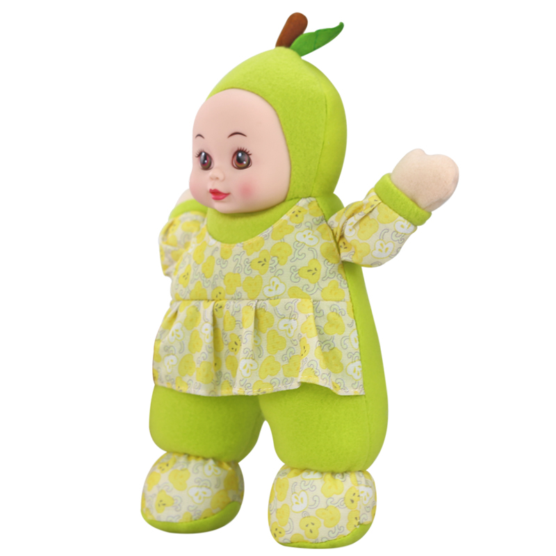 Plush kawaii stuffed Cartoon green pear doll Soft Silicone Reborn baby dolls toys for children Birthday Christmas Gift URGE