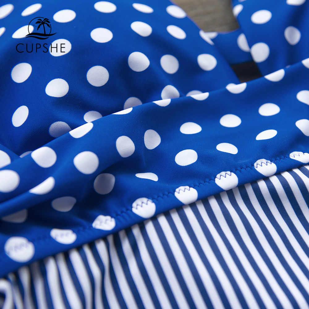 CUPSHE, синий цельный купальник в горошек и полоску, сексуальный женский Монокини, пляжная одежда 2019, пляжный купальный костюм для девочек