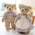 Симпатичные Люкс Классический Плюшевый Мишка Плюшевые Игрушки Пара Тед Несет в Одежде Куклы Высокое Качество 1 Пара 35 см