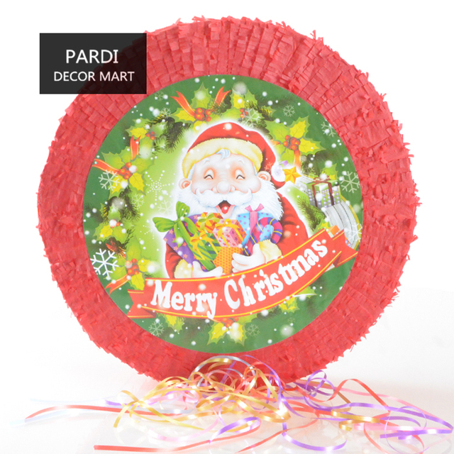 the merry christmas pinata round shape pinata red christmas party beating props party supplies 1pc