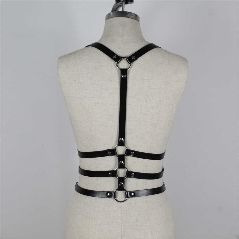 Boogeaneel Moda PU Deri Koşum Vücut Esaret Garters Kılıç Kemer Kadın Siyah Gotik Kafes Şekillendirici Kemer Ince Kemerler