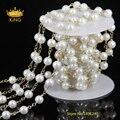 5 м природного имитация стекла перл золотая цепь горный хрусталь кристалл четки цепи ожерелье бусины работы ювелирных размер для выбора HS01